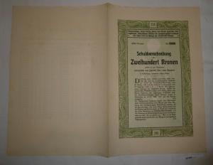 200 Kronen Schuldverschreibung Anlehen Landeshauptstadt Innsbruck 1910 (127440)