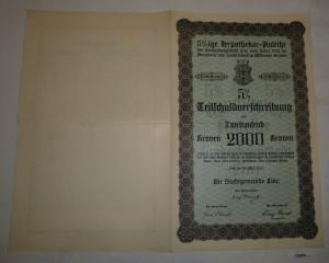 2000 Kronen Schuldverschreibung Anleihe der Stadtgemeinde Linz 1921 (126908)