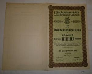 10000 Kronen Schuldverschreibung Anleihe der Stadtgemeinde Linz 1921 (127232)