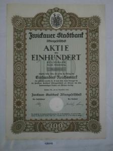 100 Reichsmark Aktie Zwickauer Stadtbank AG 28. Dezember 1926 (129310)