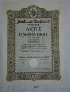 100 Reichsmark Aktie Zwickauer Stadtbank AG 28. Dezember 1926 (129791)