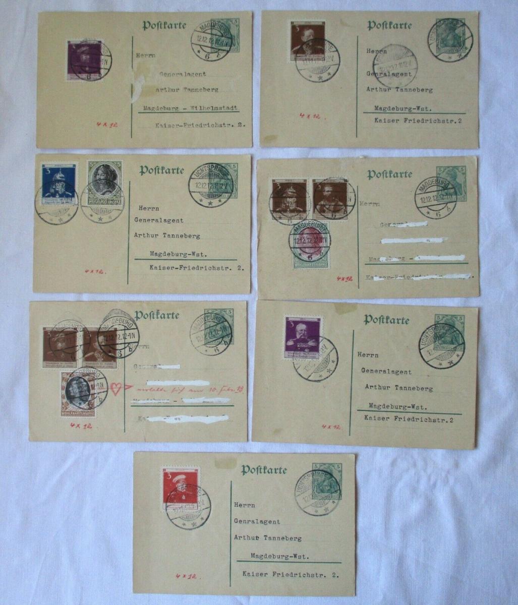 7x Ganzsachen Postkarten mit Vignette Deutscher Veteranen-Dank (127095) 0
