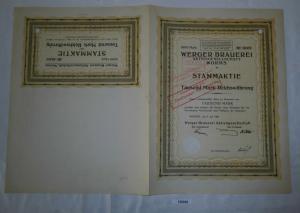 1000 Mark Aktie Werger Brauerei AG Worms 2. Juli 1920 (129245)