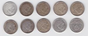 10 Silbermünzen 3.Reich 5 Mark Hindenburg mit HK (129739)