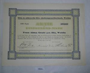 1000 Mark Aktie Otto & Albrecht Dix AG Weida 1. Juli 1922 (129244)