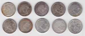 10 Silbermünzen 3.Reich 5 Mark Hindenburg mit HK (122285)