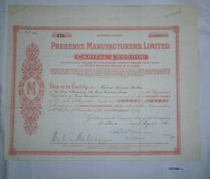 1 Pfund 100 Aktien Preserve Manufacturers 3. August 1920 (127240)