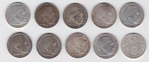10 Silbermünzen 3.Reich 5 Mark Hindenburg mit HK (123288)