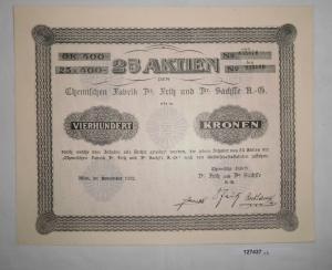 400 Kronen 25 Aktien Chemische Fabrik Dr. Fritz & Dr. Sachsse Wien 1922 (127437)