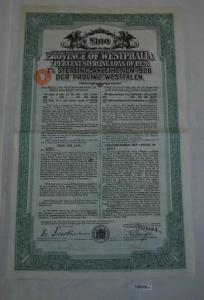 100 Pfund 7% Sterling-Anleihe Provinz Westfalen London 4. Oktober 1926 (129318)
