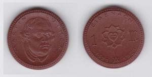 1 Mark Porzellan Münze Notgeld Eisenach Martin Luther 1521-1921 (133299)