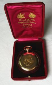 Hochwertige 585er Gold Taschenuhr Ernst Kutter Stuttgart Sprungdeckel (113019)