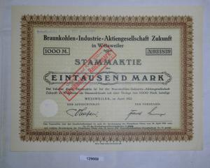 1000 Mark Aktie Braunkohlen-Industrie AG Zukunft Weisweiler April 1922 (129668)