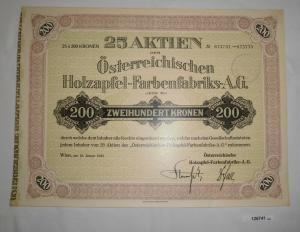 200 Kronen 25 Aktien Österreichische Holzapfel-Farbenfabrik Wien 1923 (126741)
