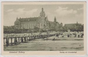 74205 Ak Ostseebad Kolberg Seesteg mit Strandschloß 1929