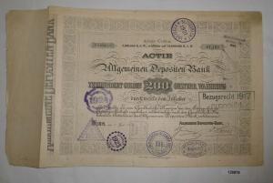 200 Gulden Aktie Allgemeine Depositen Bank Wien 1. Juni 1874 (126878)