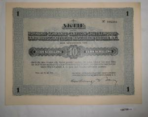 10 Schilling Aktie Hofherr-Schrantz Maschinen-Fabrik Wien 19. Juli 1926 (126759)
