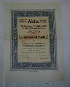 1000 Mark Aktie Thüringer Malzfabrik Schloß Thamsbrück 2. Oktober 1922 (129354)