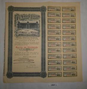 500 Pesetas Aktie Palacio de Hielo y del Automóvil de Madrid März 1921 (128641)