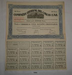 250 Pesetas Aktie Compañía General del Corcho S.A.E. Barcelona 1929 (128829)