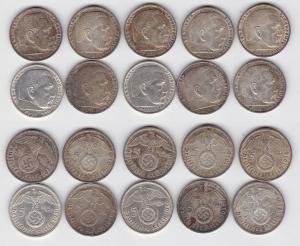 10 Silbermünzen 3.Reich 5 Mark Hindenburg 1936-1939 (114387)