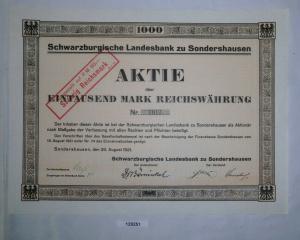 1000 Mark Aktie Schwarzburgische Landesbank Sondershausen 20.08.1921 (129251)