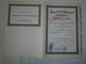 500 Mark Aktie Schwarzburgische Landesbank Sondershausen 1. Juni 1878 (129321)