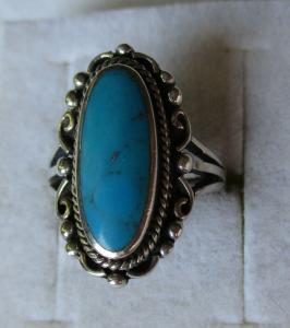 Attraktiver 925er Sterling Silber Damenring mit großem Amazonit Stein (114810)