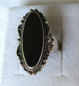 Hochwertiger 925er Sterling Silber Damenring mit riesigem Onyx Stein (110587)