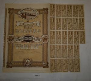 500 Pesetas Aktie Sociedad Minera de Villaodrid Bilbao 6. April 1918 (128826)