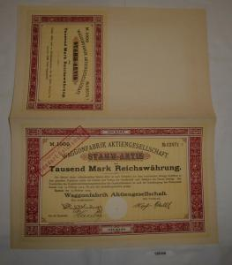 1000 Reichsmark Aktie Waggonfabrik AG Rastatt 15. Februar 1923 (128300)
