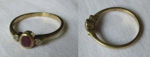 Hübscher 333er Gold Damen Ring mit rotem & weißen Schmucksteinen (115236)