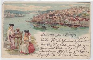 08296 Ak Lithographie Recordacao de Porto Portugal 1898