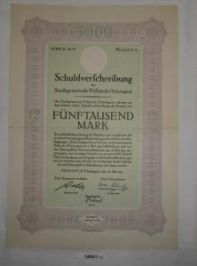 5000 Mark Schuldverschreibung Stadtgemeinde Pößneck 28. Mai 1923 (128631)