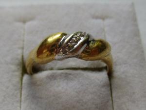 Eleganter 333er Gold Damen Ring mit 3 kleinen Diamanten (113475)