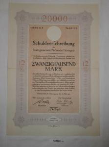 20000 Mark Schuldverschreibung Stadtgemeinde Pößneck 28. Mai 1923 (128633)