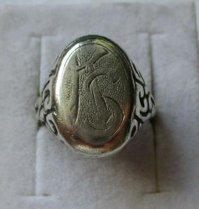 Auffälliger 800er Silber Herrenring Siegelring mit Initialen KS (115325)