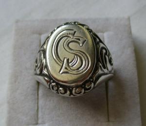 Auffälliger 835er Silber Herrenring Siegelring mit Initialen CS (114102)