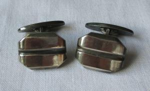 Zeitlose 835er Silber Manschettenknöpfe mit Riefen Muster (116702)