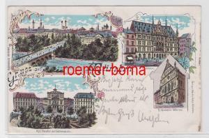 47809 Ak Lithografie Gruss aus München Theater, Hofkirche, Rathhaus usw. 1897