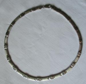 Hochwertige 925er Sterling Silber Kette mit weißen Schmucksteinen (119075)