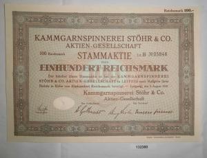 100 RM Aktie Kammgarnspinnerei Stöhr & Co. AG Leipzig 9. August 1932 (132380)