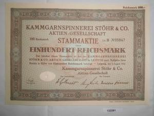 100 RM Aktie Kammgarnspinnerei Stöhr & Co. AG Leipzig 9. August 1932 (132391)
