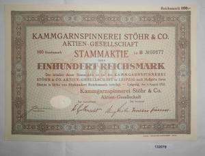 100 RM Aktie Kammgarnspinnerei Stöhr & Co. AG Leipzig 9. August 1932 (132079)
