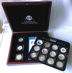 Edles Holzetui mit 15 Münzen Fabulous 15 Silvercollection 2011 (117062)