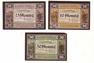 3 Banknoten Notgeld Bürgermeisterei Eppelborn Dirmingen 1921 (114045)