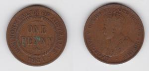 1 Penny Bronze Münze Australien Georg V. 1911 (130541)