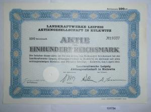 100 Reichsmark Schuldverschreibung Landkraftwerke Leipzig AG 1.4.1941 (131724)