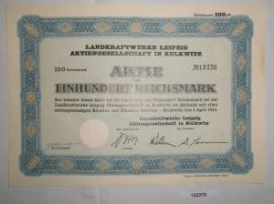 100 Reichsmark Schuldverschreibung Landkraftwerke Leipzig AG 1.4.1941 (132370)