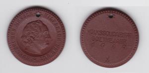 Seltene Meissner Porzellan Medaille Volkssolidarität Goethejahr 1949 (133577)